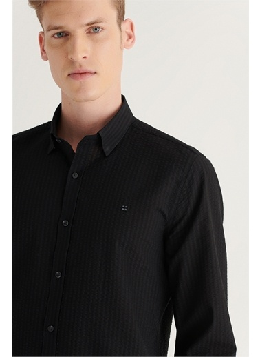 Avva Erkek Seersucker Alttan Britli Yaka Slim Fit Garnili Gömlek A11Y2010 Siyah
